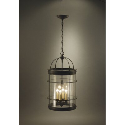 Chandelier 4-Light Foyer Pendant Finish: Dark Antique Brass, Glass Type: Clear