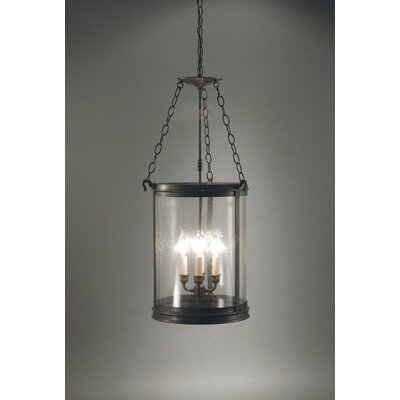 Chandelier 4-Light Hanging Foyer Pendant Finish: Dark Antique Brass, Glass Type: Clear