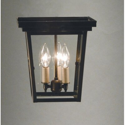 Williams 17 3-Light Flush Mount Finish: Verdi Gris, Shade Color: Clear Seedy