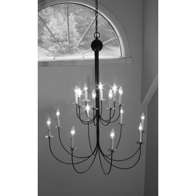 Sockets Hanging 2 Tier J-Arms 16-Light Candle-Style Chandelier Finish: Dark Brass