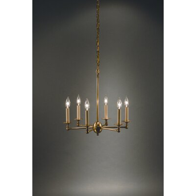 Sockets Straight Arms 6-Light Candle-Style Chandelier Finish: Raw Brass