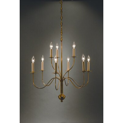 Sockets Curved Arms Hanging 9-Light Candle-Style Chandelier Finish: Verdi Gris