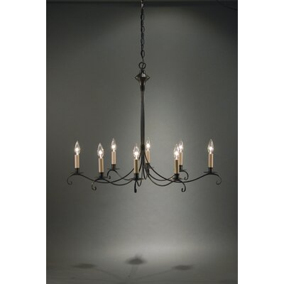 Sockets Curved Arms Hanging 8-Light Candle-Style Chandelier Finish: Raw Brass