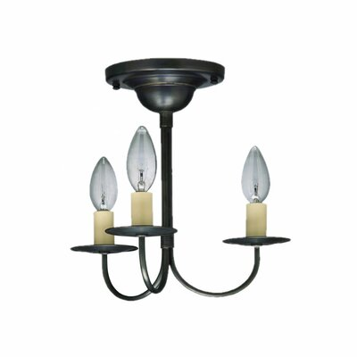 Chandelier 3-Light Semi Flush Mount Finish: Dark Brass