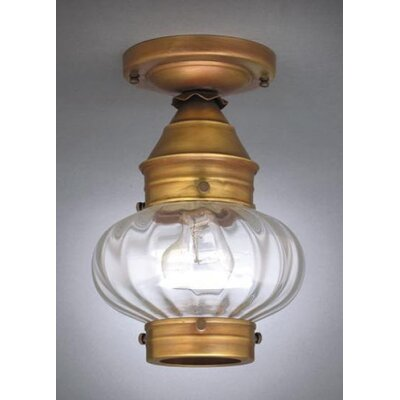 Onion 7 Medium Base Socket No Cage Semi Flush Mount Finish: Dark Antique Brass, Shade Color: Clear Seedy