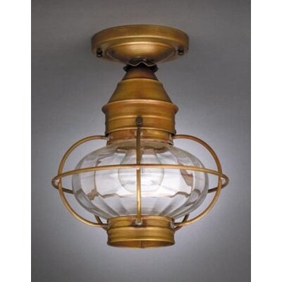 Onion 11 Socket Caged Semi Flush Mount Finish: Raw Brass, Shade Color: Optic