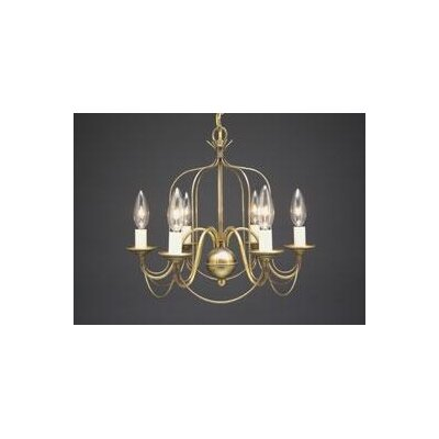 Sockets Bird Cage Hanging 6-Light Candle-Style Chandelier Finish: Dark Brass
