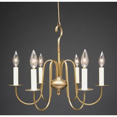 Sockets S-Arms Hanging 6-Light Candle-Style Chandelier Finish: Verdi Gris
