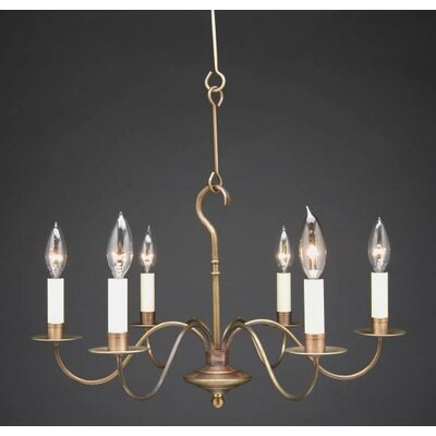 Sockets S-Arms Hanging 6-Light Candle-Style Chandelier Finish: Raw Brass