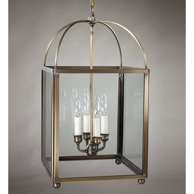 Chandelier 4-Light Foyer Pendant Finish: Verdi Gris, Glass Type: Clear