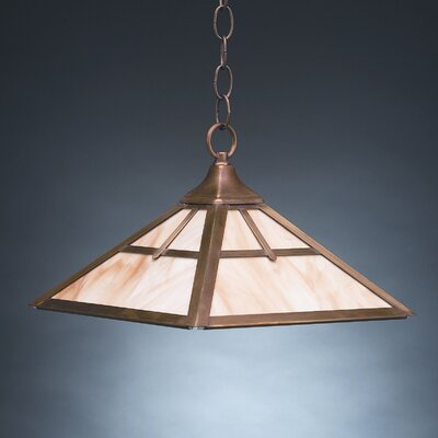 1-Light Hanging Pendant Finish: Raw Brass, Glass Color: Caramel