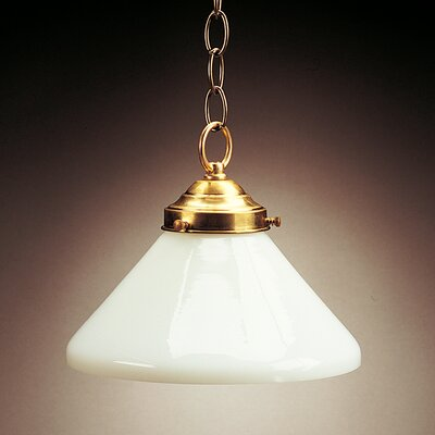 1-Light Hanging Pendant Finish: Raw Brass, Glass Color: White