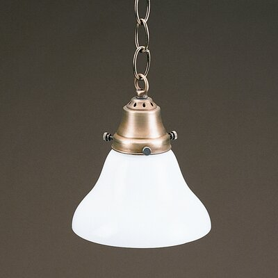 1-Light Hanging Pendant Finish: Dark Brass, Glass Color: White - 50W