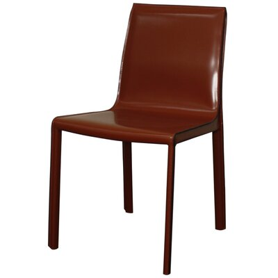 Gervin Recycled Leather Side Chair Color: Cordovan