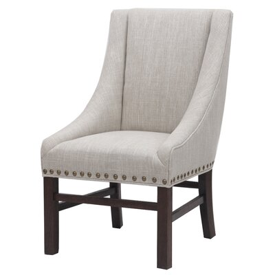 Aaron Sloping Upholstered Dining Chair Leg Finish: Dark Brown, Upholstery: Rice