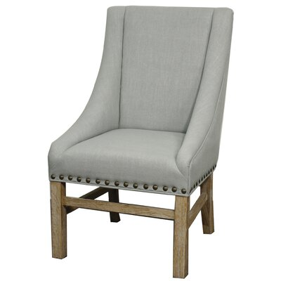 Aaron Sloping Upholstered Dining Chair Leg Finish: Natural, Upholstery: Soft Blue