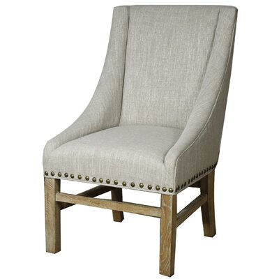 Aaron Sloping Upholstered Dining Chair Leg Finish: Natural, Upholstery: Rice