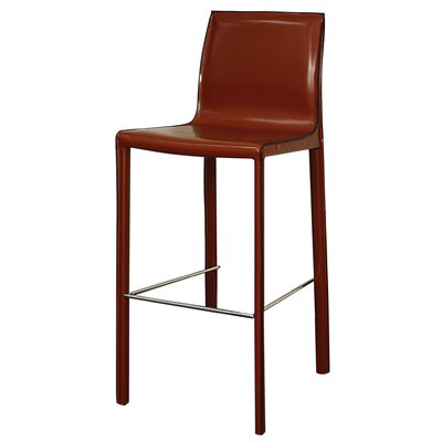 Gervin 29.5 inch Bar Stool with Cushion Upholstery: Cordovan