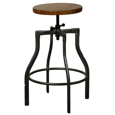 Industrial Adjustable Height Swivel Bar Stool