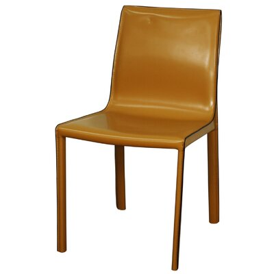 Gervin Recycled Leather Side Chair Color: Chestnut