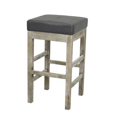 Kimberling 27 Bar Stool Finish: Mystique Gray, Upholstery: Paynes Gray