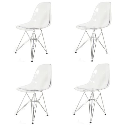 Essence Side Chair with Metal Wire Legs Finish: Transparent