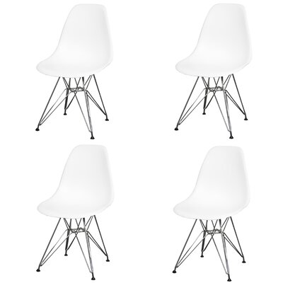 Essence Side Chair with Metal Wire Legs Finish: White/