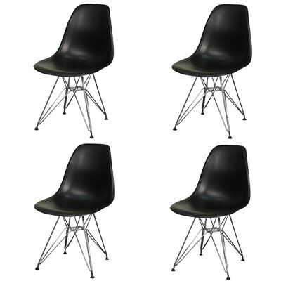 Essence Side Chair with Metal Wire Legs Finish: Black