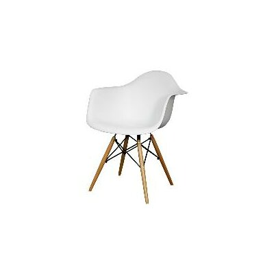Judah Arm Chair with Wooden Legs Finish: White