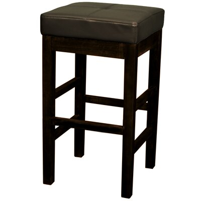 Kimberling 27 Wood Bar Stool Upholstery: Brown