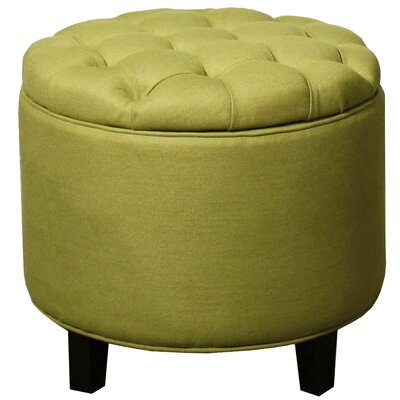Avery Round Tufted Storage Ottoman Upholstery: Lime