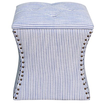 Mendes Upholstered Storage Ottoman Upholstery: Blue Stripes
