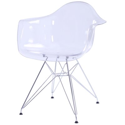 Judah Arm Chair with Metal Wire Legs Finish: Transparent