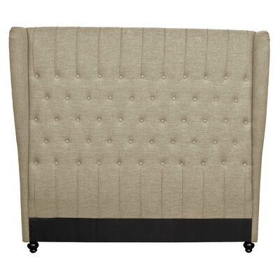 Alice King Upholstered Wingback Headboard Upholstery: Khaki
