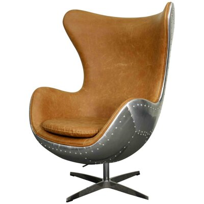 Axis Swivel Rocker Wingback Chair Upholstery: Distressed Caramel