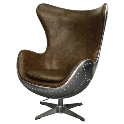 Axis Swivel Rocker Wingback Chair Upholstery: Distressed Mocha