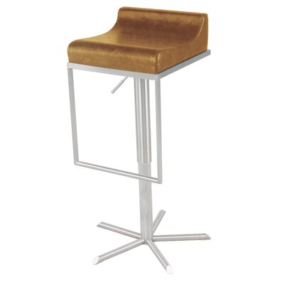 Zac Adjustable Height Bar Stool with Cushion Upholstery: Vintage Caramel