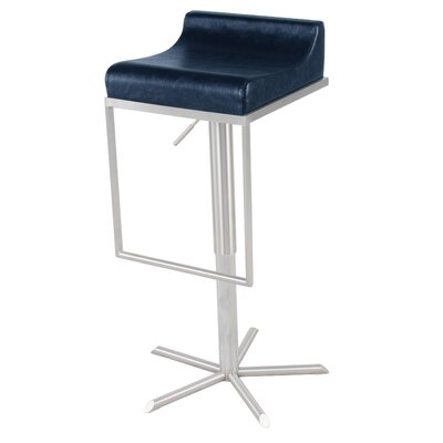 Zac Adjustable Height Bar Stool with Cushion Upholstery: Vintage Blue