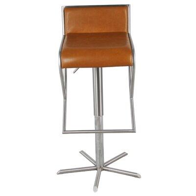 Brett Adjustable Height Bar Stool with Cushion Upholstery: Caramel