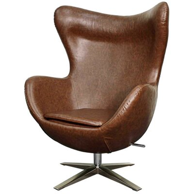 Max Swivel Wingback Chair Upholstery: Distressed Brown