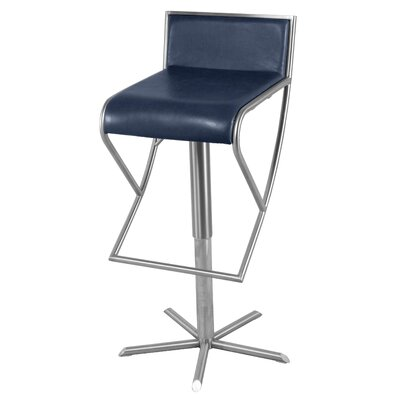 Brett Adjustable Height Bar Stool Upholstery: Blue