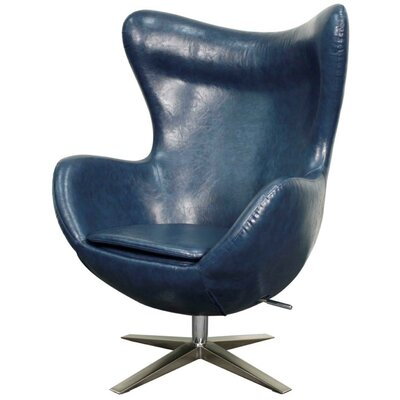 Max Swivel Wingback Chair Upholstery: Distressed Blue