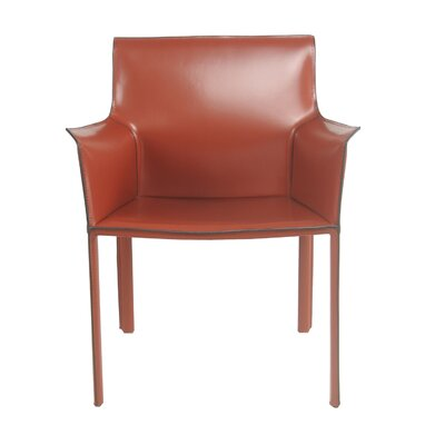 Gavon Recycled Leather Arm Chair Color: Cordovan