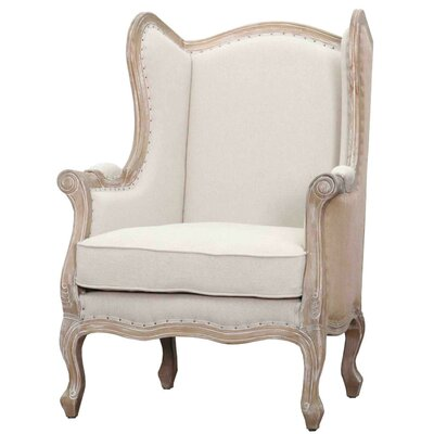 Guinevere Wing Burlap Armchair Color: Light Sand