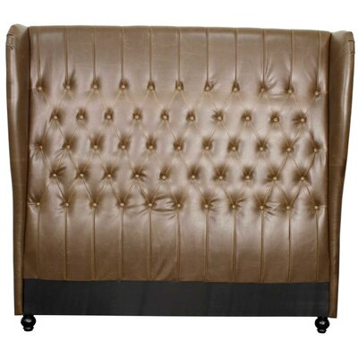 Alice Upholstered Wingback Headboard Size: Queen, Upholstery: Vintage Brown