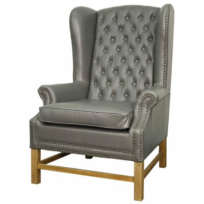Graham Bonded Leather Wingback Chair Color: Vintage Gray