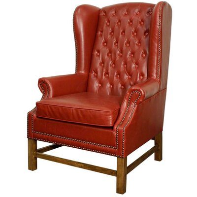 Graham Bonded Leather Wingback Chair Color: Vintage Red