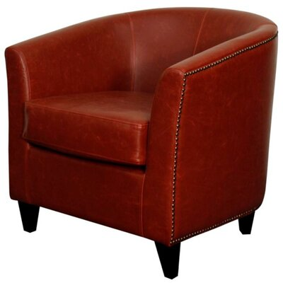 Orson Bonded Leather Barrel Chair Color: Vintage Red