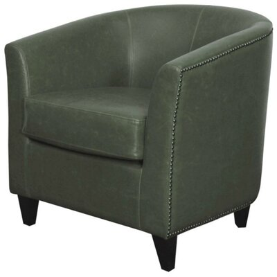 Orson Bonded Leather Barrel Chair Color: Vintage Gray
