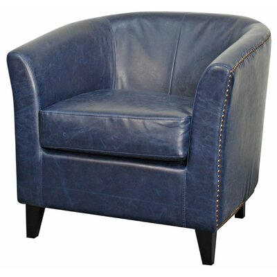 Orson Bonded Leather Barrel Chair Color: Vintage Blue
